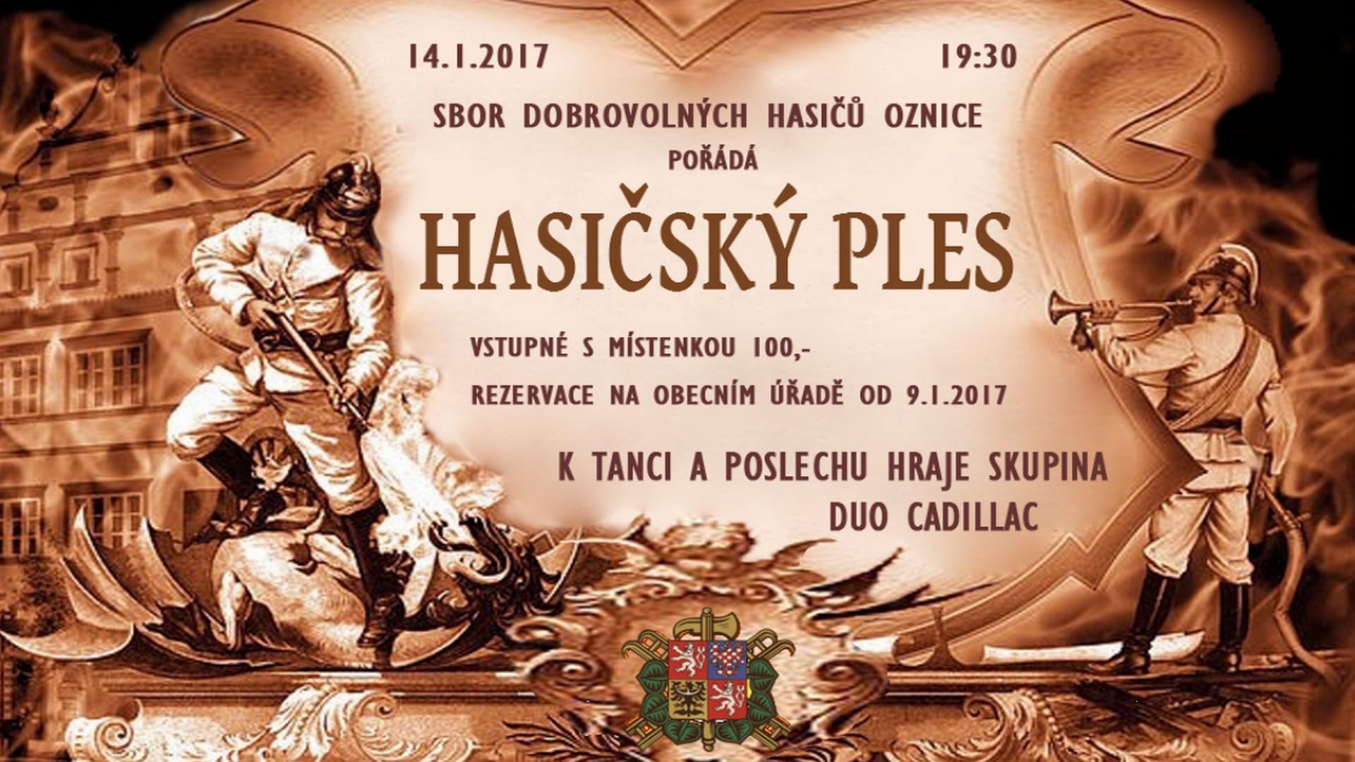 SDH Oznice - Hasičský ples 14.1.2017